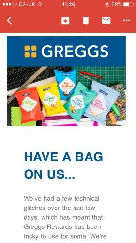 Greggs app free crisps or popcorn