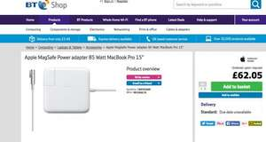 APPLE 85W MagSafe Power Adapter for 15- and 17-Inch MacBook Pros £62.05 + £3.49 delivery BT Shop