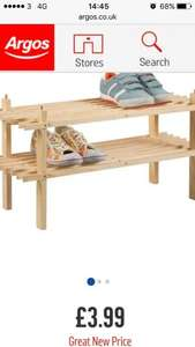 2 tier shoe rack £3.99 @ Argos free c&c