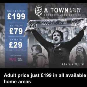 cheap championship or premiership football next season at huddersfield town (I hope) £199 adults £79 <18s and £29 <8s
