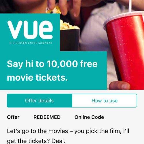 wuntu vue cinema free tickets (Three customers)