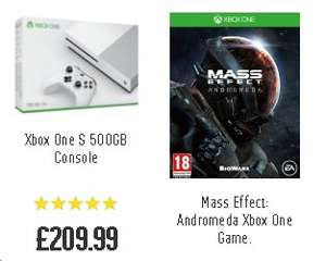 Xbox One S 500GB Console and FREE game Mass Effect Andromeda £209.99 + £10 Cashback via Quidco @ Argos via QUIDCO