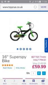20% off bikes and wheels @ toys r us online bike in pic now £47.99 free delivery full details in description