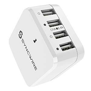 Syncwire 4-port USB Charger (UK/EU interchangable) £10.70 Sold by Syncwire and Fulfilled by Amazon (Prime or add £3.99)