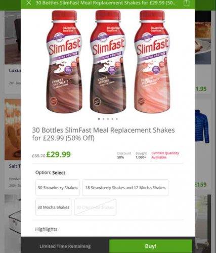 30 slimfast drinks £31.98 Del @ Groupon