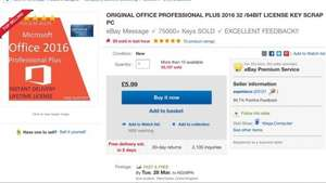 £5.99 MS OFFICE PROFESSIONAL PLUS 2016 32 /64BIT LICENSE KEY @ eBay / aapmieco