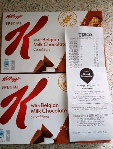 Kelloggs Special K Cereal BarsBelgian Milk Chocolate 5 pack Less Than Half Price Was £1.99 Now 50p Tesco Stourbridge in store