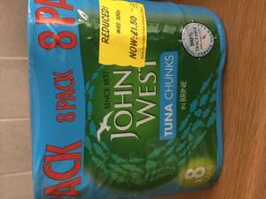 8 pack of John West tuna in brine reduced to £1.50 INSTORE at Asda