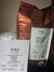 M&S Italian Coffee Beans 227g buy 1get1 half price £2.60 in-store