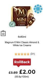 Magnum Mini Double Ice Cream - 6 X 60ml - £2 ASDA Rollback deal