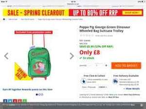 Peppa Pig George Green Dinosaur Wheeled Bag Suitcase Trolley only £8 free C&C at The Works (other designs available)