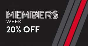 Members week 20% off instore and online DWsports
