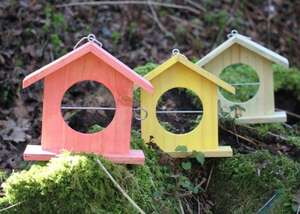 Set of 3 Wooden Bird Feeders - Red/Green/Yellow - (-1p) incl free delivery @ primrose.co.uk