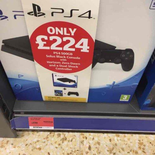 PS4 500gb + Horizon Zero Dawn + Extra Controller £224 instore @ Sainsbury's