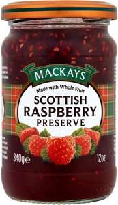 Mackays Scottish Raspberry Preserve (340g = 12oz) was £1.55 now £1.00 @ Tesco