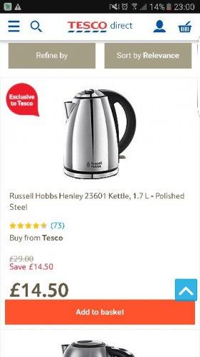 russell hobbs kettle £14.50 @ tesco direct