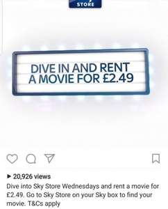 Sky store Wednesdays. Rent a movie for £2.49 (normally from £4.99)
