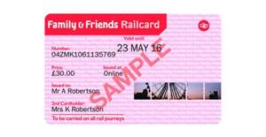 One Year Family & Friends Railcard or 16-25 Railcard now £25 (saving £5) with code + Possible 5% cashback