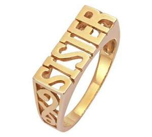 9ct gold plated sister ring £2.99 @ argos