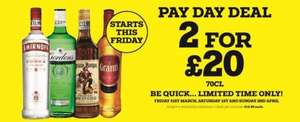 2 for £20 Spirits @ Bargain Booze