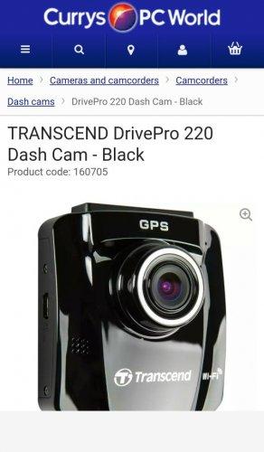 TRANSCEND DrivePro 220 Dash Cam £69.99- Black @ Currys
