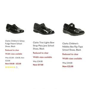 Girl's clarks school shoes from £10 @ John Lewis