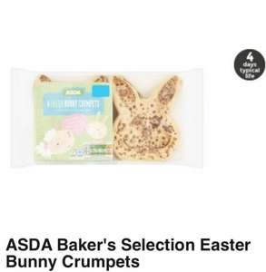 Asda Bakers Selection Easter Bunny Crumpets-£1.00 (4 in pack).