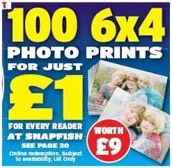 "Snapfish 100 6x4"" Prints for £1 (Plus £2.99 Postage)"