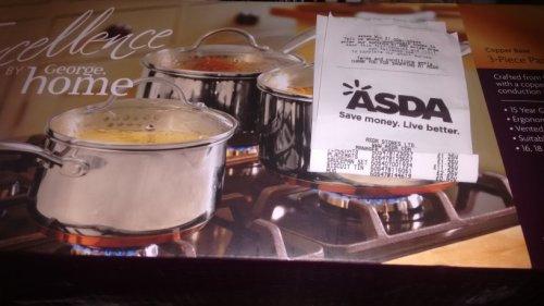 Asda Weymouth copper base pan set - £11.25