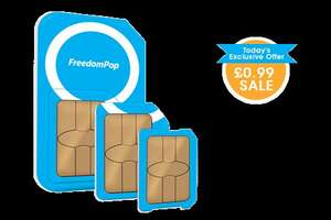 Freedom Pop 1250 mins 1250 text 1.25Gb 1 month contract