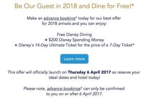Walt Disney World 2018 Holidays - FREE $200 Disney Gift Card, FREE Memory Maker (worth $169), FREE Quick Service Dining Plan & 14 Day Disney ticket for the price of 7! @ Disney Packages
