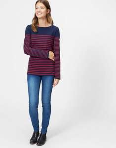 Ebay 50% OFF: Joules Womens Harbour Block Jersey Long-Sleeve Top from Cotton in Navy Red Block - £14.95 delivered