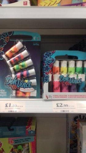 Doh Vinchi refills 12 pack plain colours  £2.99 & 6 pack striped colour mix £1.99 instore @ home bargains