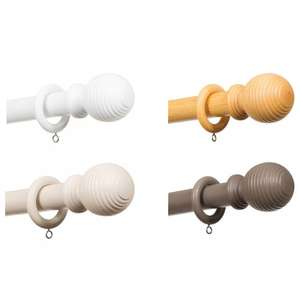 Ribbed Wooden Curtain Pole 180cm £1.00 reduced from £8.99 various colours @ B&M