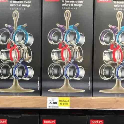 Bodum Bistro mug tree with mugs £5 Tesco instore