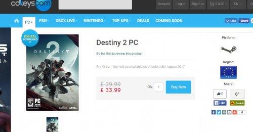 Destiny 2 - [PC PRE-ORDER] - £32.99 @ CDKeys