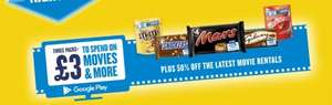 £3 Google Play Credit  - Movies Music for 3 codes from  Minstrels, Galaxy, Reveals, Snickers, Mars and Maltesers (some £1 each @ Tesco/Asda/Sainsburys)