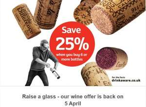 Heads up - buy 6 bottles of wine save 25% back 5th - 9th April @ Sainsburys