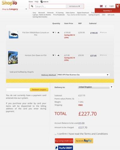 SONY PS4 SLIM 500GB CONSOLE BLACK/WHITE + HORIZON ZERO DAWN GAME £227.20 @ ShopTo