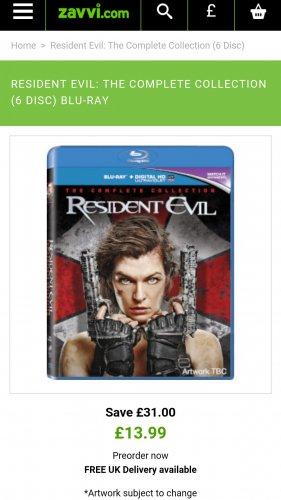 Resident evil 1-6 blu ray £13.99 @ zavvi