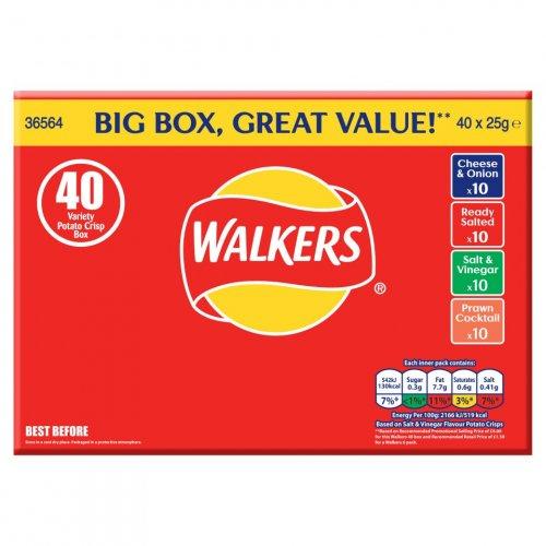 Walkers Variety Crisps 40 Box - 40 x 25g at £4 at Iceland and Asda instore