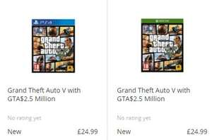 GTA V with 2.5 million in game dollars £24.99 PS4 / Xbox One @ Game