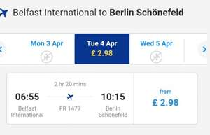 Ryanair flight Belfast to Berlin Tues 4th £2.98