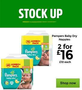 Pampers Baby Dry Nappies Jumbo Packs 2 for £16 @ Asda