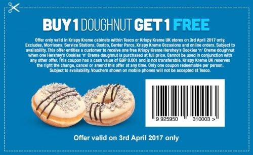 Buy 1 Get 1 Free Hersheys Krispy Kreme £2 - April 3rd only