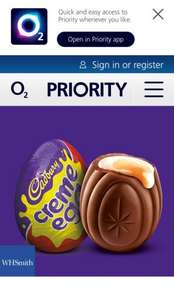 Free Easter treat - Pick up a Cadbury's Crème Egg - WHSmith - O2 Priority