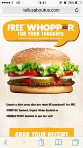 Free Burger King Whopper when you fill in the receipt survey!