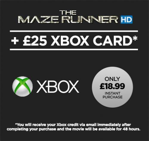 £25 Xbox Credit + The Maze Runner HD Rental £18.99 @ Wuaki