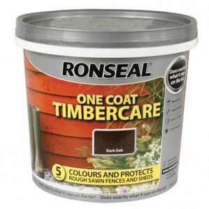 Ronseal One coat Timbercare paint 5litres for fence and sheds £3.99 @ Poundstretcher instore