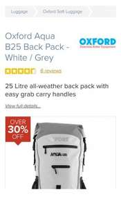 Oxford Aqua B25 Back Pack Rucksack - White / Grey - FREE UK DELIVERY £32.99 @ SportsBikeShop
